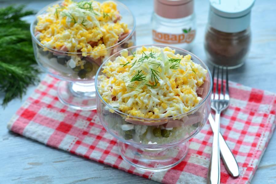 Слоеный салат из пекинской капусты