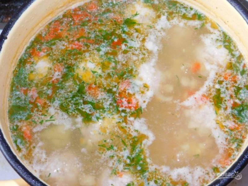 Добавьте соль, специи по вкусу. Посыпьте укропом. Варите до готовности картофеля минут 10.