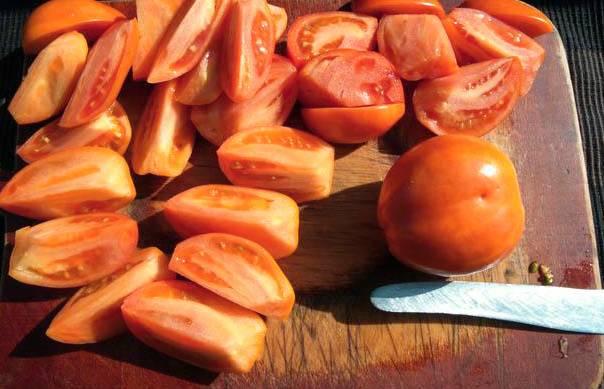 Для приготовления нам понадобятся спелые помидоры. Неважно, мелкие они или крупные - подойдут любые. Помидоры тщательно промываем в прохладной воде. Выкладываем их на доску. Нарезаем крупными дольками.