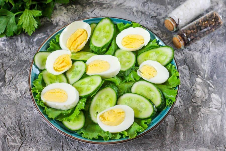 Очистите куриные яйца от скорлупы, промойте в воде. Нарежьте кружочками и разложите на тарелке.