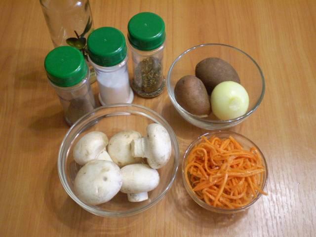 """Приготовьте продукты. Грибы вымойте, если нужно — очистите. Картофель отварите """"в мундире"""" до готовности."""