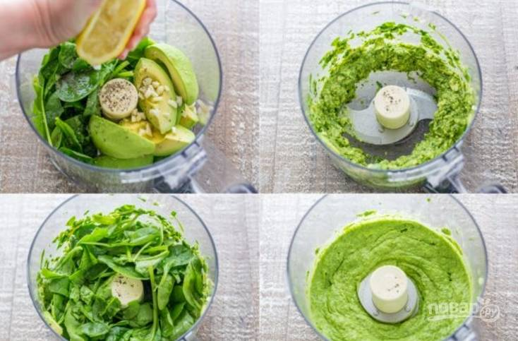 В чашу миксера выкладываем очищенную мякоть авокадо, чеснок, сок лимона, шпинат, кладем соль и перец по вкусу. Перемалываем все в пасту.