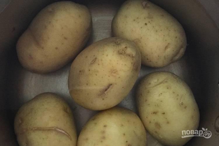 1.Вымойте картофель, поместите его в кастрюлю с водой, отправьте кастрюлю на огонь, отварите картофель до готовности.