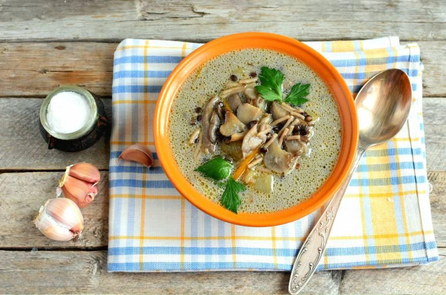 Грибной суп с чечевицей и гречневой вермишелью