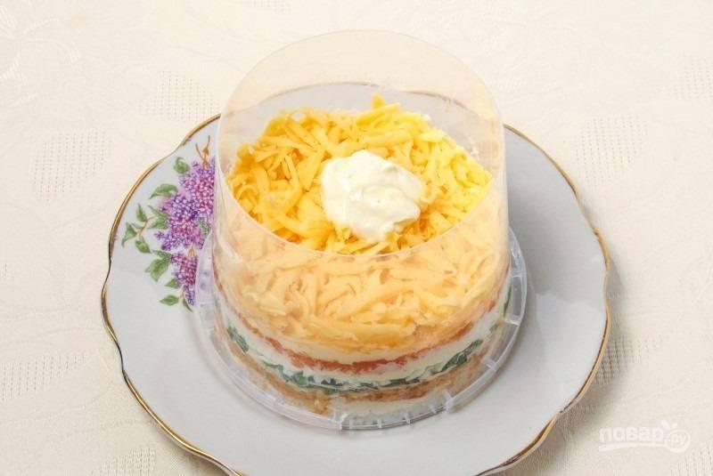 8.Поверх моркови кладу слой твердого сыра, смазываю тонким слоем майонеза. Отправляю салат на 60 минут в холодильник, после этого аккуратно достаю форму.