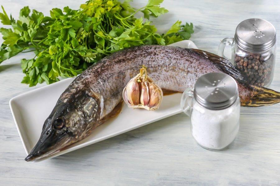 Подготовьте необходимые ингредиенты. Щуку очистите от чешуи, вспорите брюхо под головой и извлеките внутренности. Если есть икра или молоки в рыбе, то их оставьте. Тщательно промойте тушку внутри и снаружи.