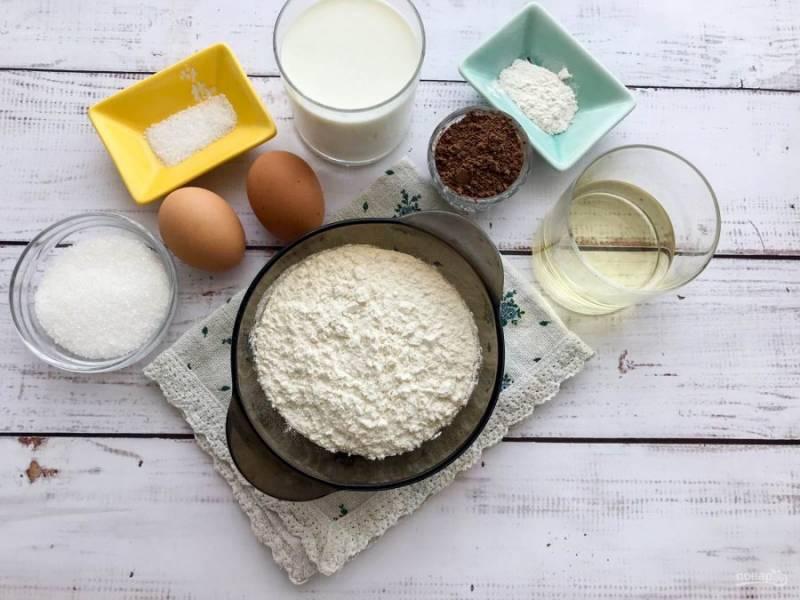 Для приготовления мокрого шоколадного кекса подготовьте все необходимые ингредиенты.