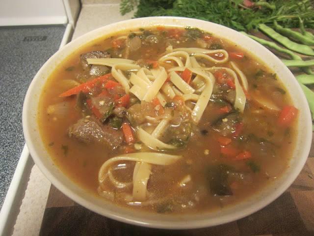 Отдельно отварить лагман и добавить в суп по желанию.