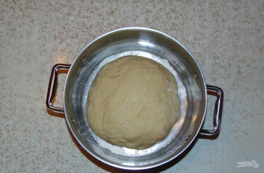 Тесто сверните в колобок, обомните и переложите в большую кастрюлю.