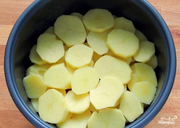 Картофель очищаем и нарезаем тонкими кольцами. Выкладываем его следующим слоем.