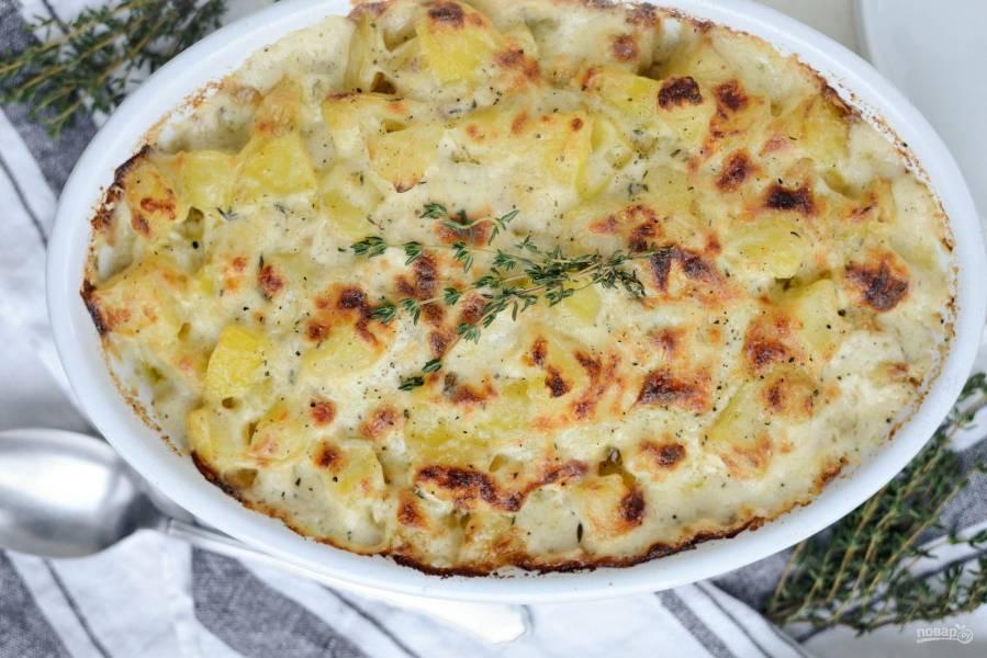 Картофель со сметаной и сыром