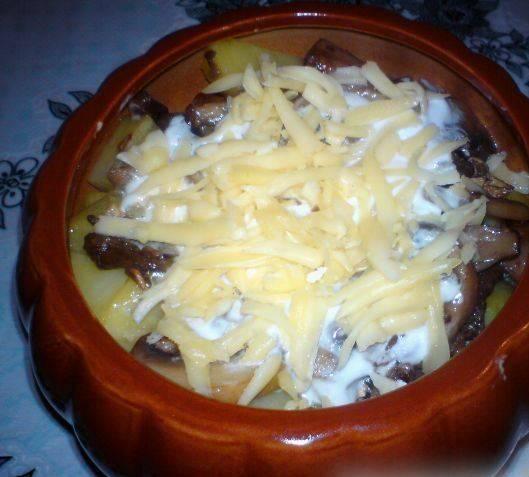 На картофель кладем оставшееся грибы, сметану и тертый сыр. Заливаем воду или бульон, чтоб заполнилась 1/4 часть горшочка.