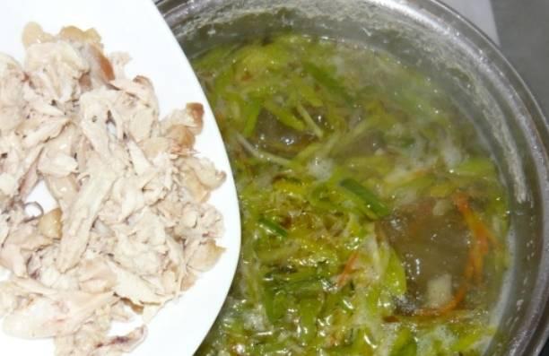 Добавляем в суп порезанное куриное мясо.