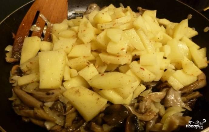 Молодой картофель очистите, нарежьте и добавьте к грибам. Тушите на небольшом огне минут 10.