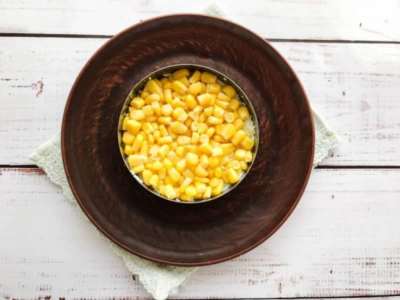 Сверху сделайте слой из консервированной кукурузы.