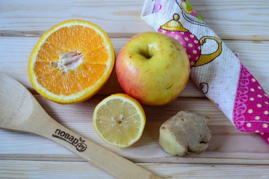 Подготовьте все необходимые ингредиенты. Апельсин и лимон сначала ошпарьте кипятком, а затем хорошенько промойте чистой губкой. Нужно это делать, чтобы убрать воск, которым покрывают фрукты.