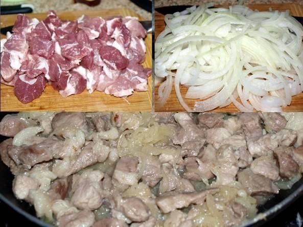 Мясо порежьте помельче, лук нарежьте полукольцами, отправьте все вместе на разогретую сковороду. Посолите и добавьте специй по вкусу, затем обжаривайте до готовности. Если мясо дало много сока, в конце приготовления оставьте его еще минут на 5, чтобы он испарился.