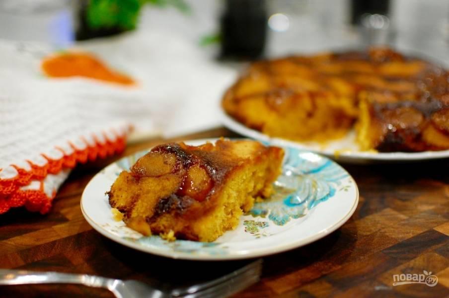 Перевернутый пирог с яблоками и тыквой