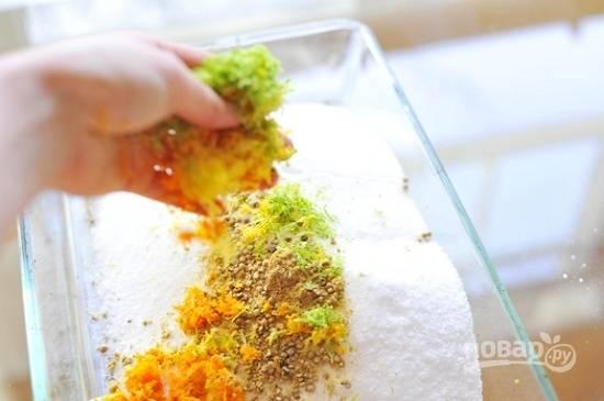 Добавьте в смесь соли и специй цедру цитрусовых.