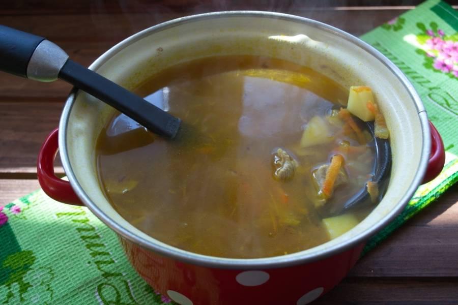 Когда картофель будет почти готов, в суп добавьте зажарку. Варите все вместе еще 5-7 минут. Добавьте в суп соль, специи. Варите до готовности овощей.