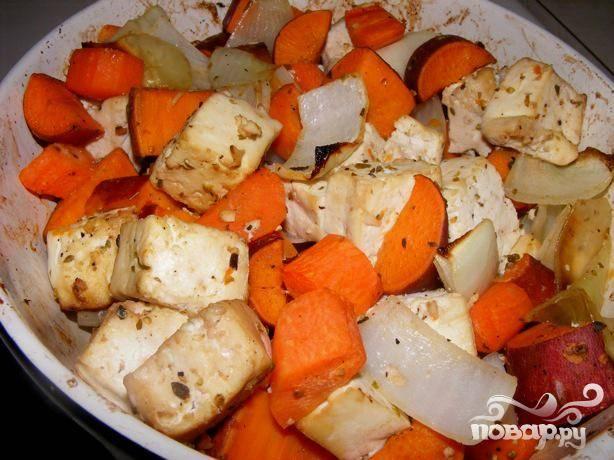 Глазированные тофу и морковь