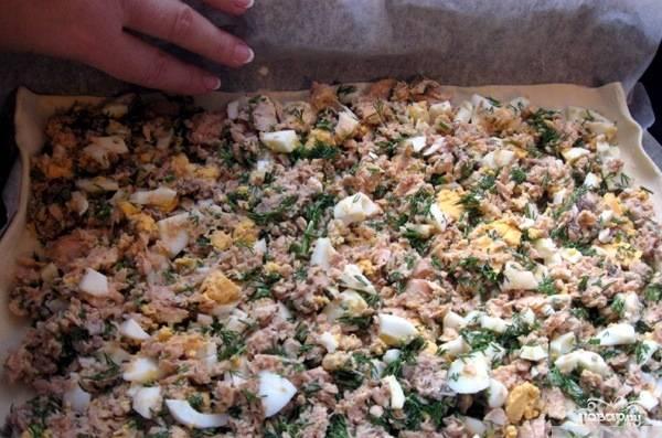 Тесто разморозьте. Один пласт раскатайте и выложите на противень. Рыбу достаньте из банок, смешайте в отдельной посуде и помните вилкой. Добавьте к рыбе нарезанные и сваренные вкрутую яйца, рубленую зелень, соль, перец. Равномерно выложите рыбу на лист теста.
