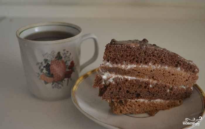 Оставьте торт в холодильнике на ночь. Приятного чаепития!