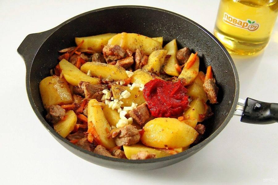 Добавьте томатную пасту, измельченный ножом чеснок, соль, перец или другие любимые специи.
