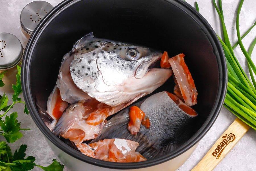 Тщательно вычистите кусочки рыбы от чешуи, промывая ее в воде несколько раз. Вырежьте из головы жабры, промойте ее от слизи внутри и снаружи. По желанию удалите глаза. Выложите очищенные части лосося в чашу мультиварки.