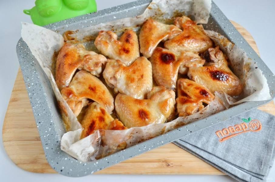 5. Куриные крылышки в медово-чесночном маринаде готовы. Подавайте горячими.