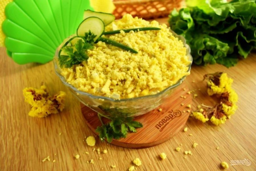 Выложите салат слоями: куриное мясо, чернослив, орехи, белок, огурцы и желток. Каждый слой, кроме верхнего, слегка промажьте соусом. Дайте салату немного настояться, а потом подавайте к столу.