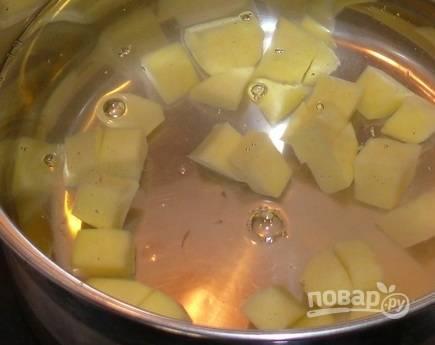 2. Как только вода закипит, посолите немного по вкусу и добавьте нарезанный кубиками картофель.