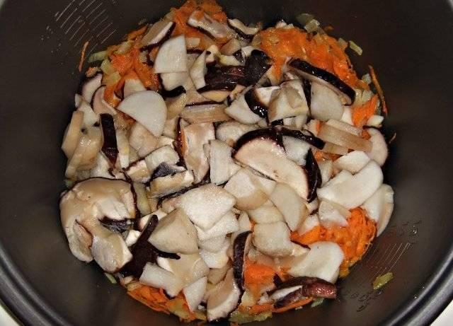 Белые грибы очищаем от мусора, тщательно промываем и нарезаем на небольшие кусочки, выкладываем в мультиварку.