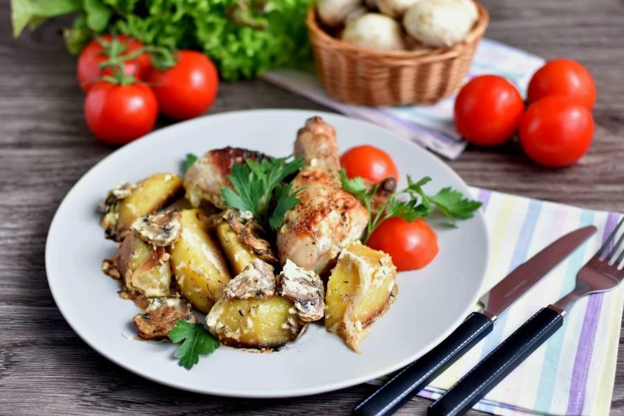 Куриные ножки с картошкой и грибами