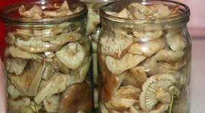 4. Чеснок измельчаем и засыпаем на дно подготовленных баночек. Также выкладываем листья смородины и вишни. Закладываем грибы и заливаем маринадом.