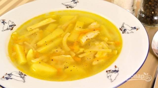 Куриный суп готов! Приятного аппетита!