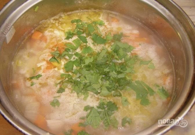 Как только картофель будет готов, добавляем в суп куриные кусочки, солим и добавляем зелень. Я обычно использую измельчённую петрушку. Приятного аппетита!