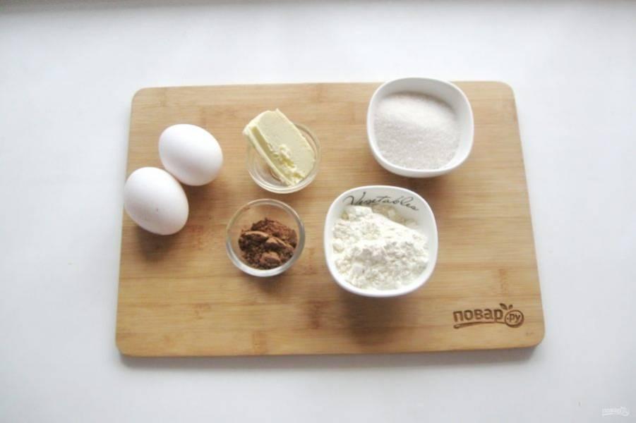 Подготовьте ингредиенты для приготовления шоколадных вафель.