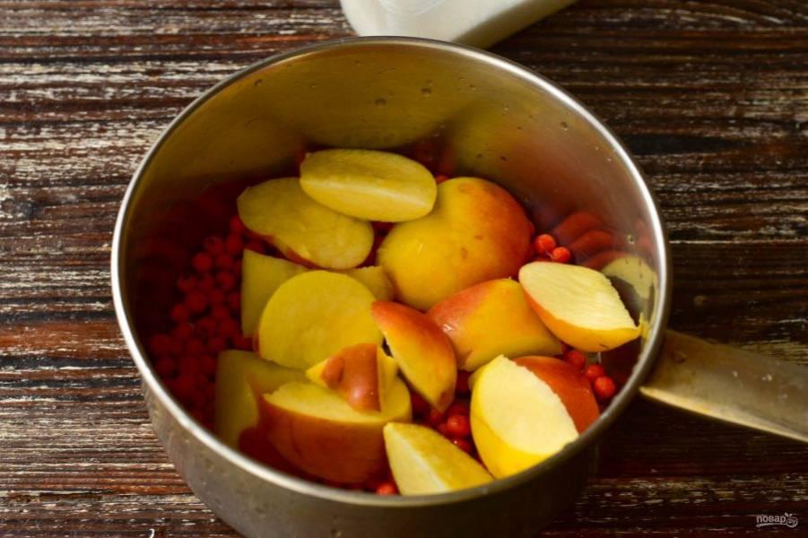 Яблоки нарежьте и выложите их к рябине.
