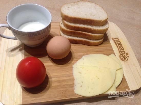1. Ингредиенты для приготовления двух сэндвичей.