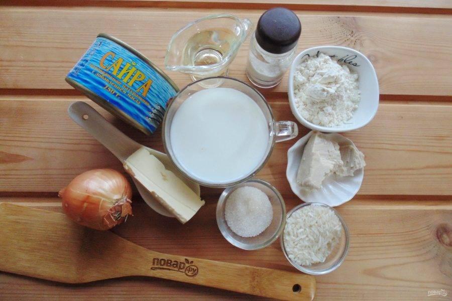 Подготовьте ингредиенты для приготовления пирожков.