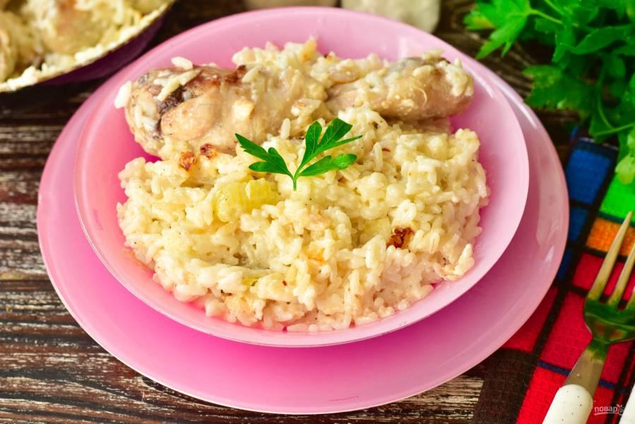 Рис с курицей в сливках
