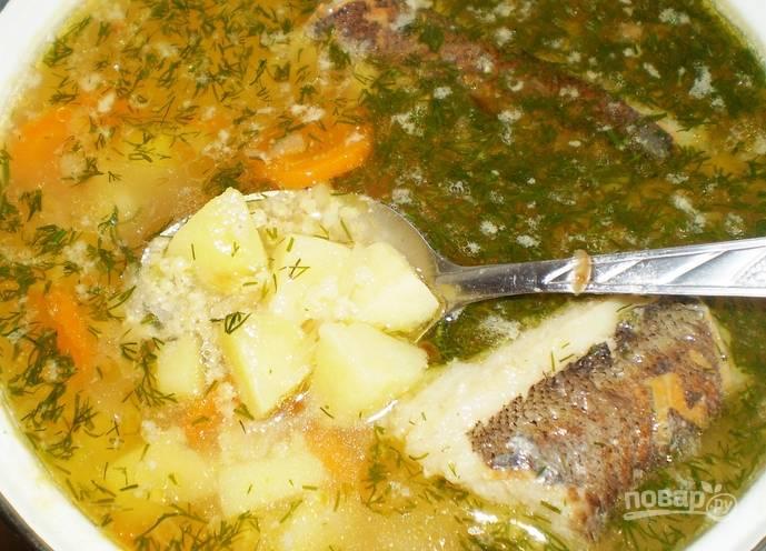 Через 10 минут, после того, как добавили картофель, кладем крупу. За 5 минут до готовности добавьте зажарку и зелень. Дайте настояться готовому супу под крышкой 10 минут.
