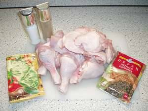 1. Подготовим ингредиенты. Курицу размораживаем, обмываем в воде и обсушим полотенцем.