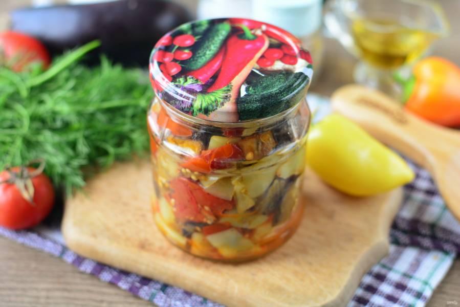 Салат из запеченных баклажанов и перца на зиму