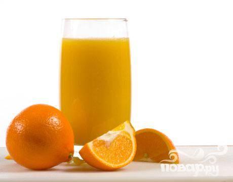 1. Выжать сок из апельсинов и вылить его в кастрюлю с водой.
