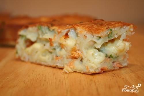 Пирог с горбушей и картошкой
