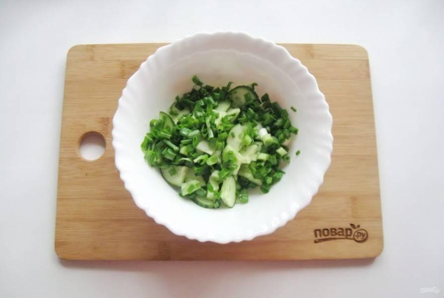 Зеленый лук помойте и мелко нарежьте. Добавьте в миску с огурцами.