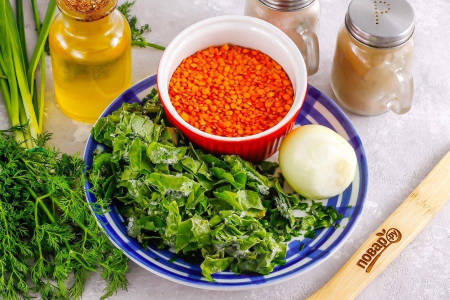 Подготовьте указанные ингредиенты. Шпинат можно использовать как свежий, так и замороженный.