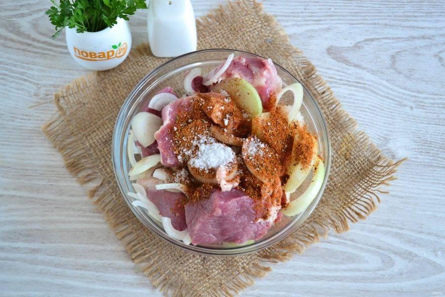 Смешайте мясо, лук, приправу для шашлыка, соль и уксус.